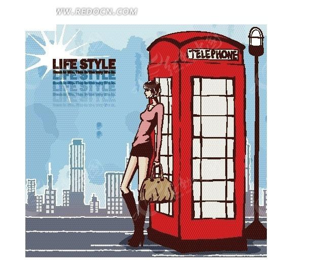 卡通人物插画——靠着电话亭站的时尚女孩