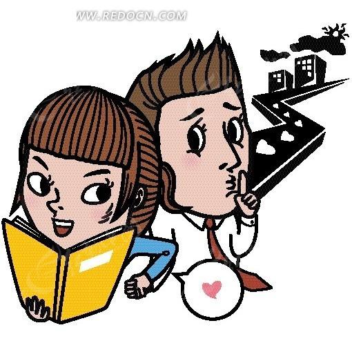 插画—道路边的建筑和看书的美女边的男人矢量图