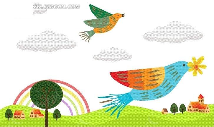 空中飞翔可爱的小鸟矢量图 卡通形象