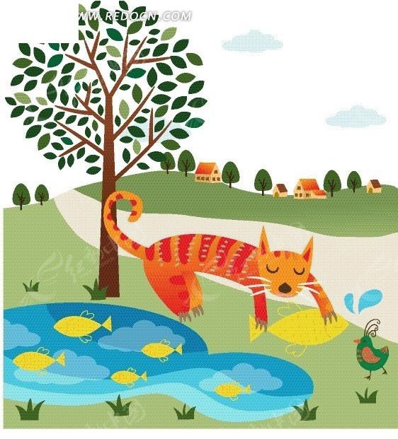 动物插画—草地上的道路和抓鱼的猫