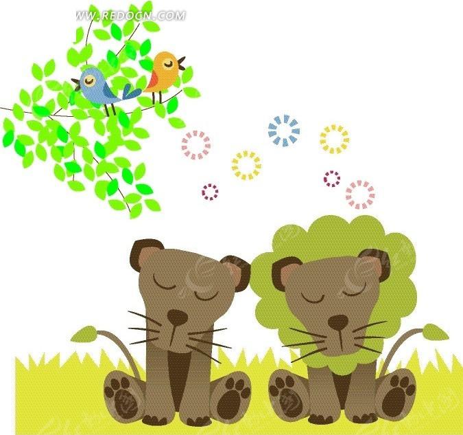 免费素材 矢量素材 矢量人物 卡通形象 > 卡通动物插画——树上可爱