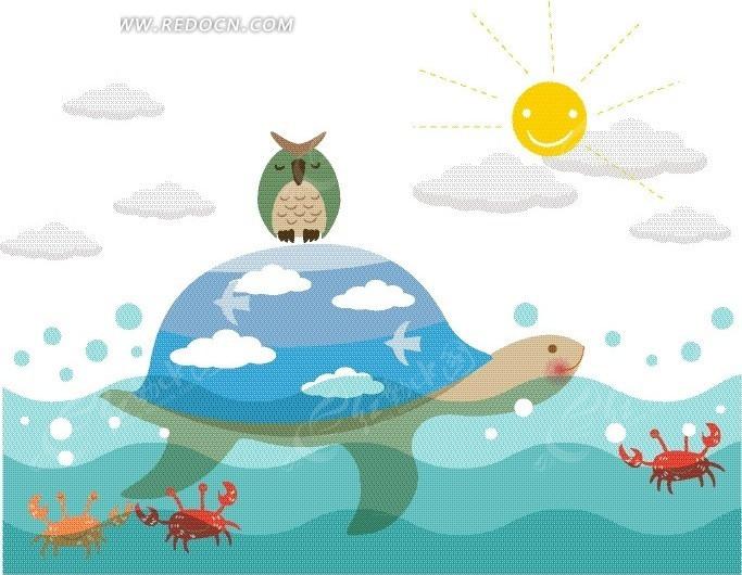 动物插画 水面 螃蟹 海龟