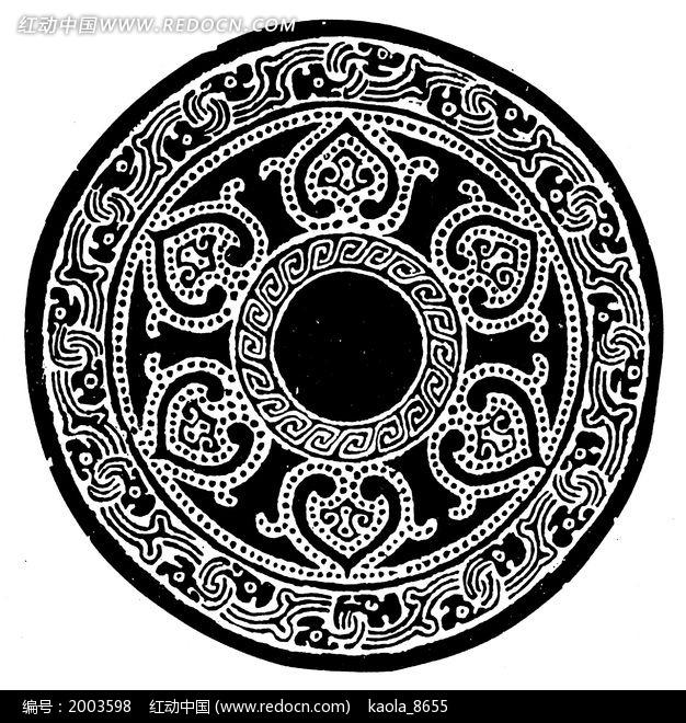 免费素材 图片素材 文化艺术 传统图案 古代圆形器物花卉纹样拓印  请