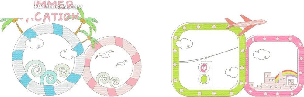 卡通游泳圈飞机文本框