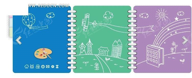 手绘城市建筑风筝太阳笔记本封面矢量图