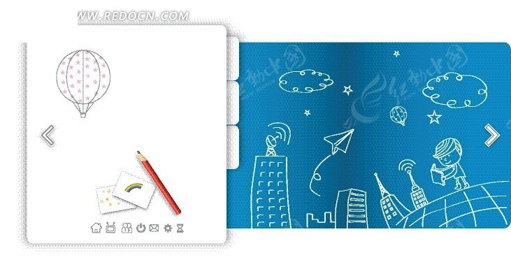 白色文件夹和手绘云朵下的高楼男孩和纸飞机矢量图