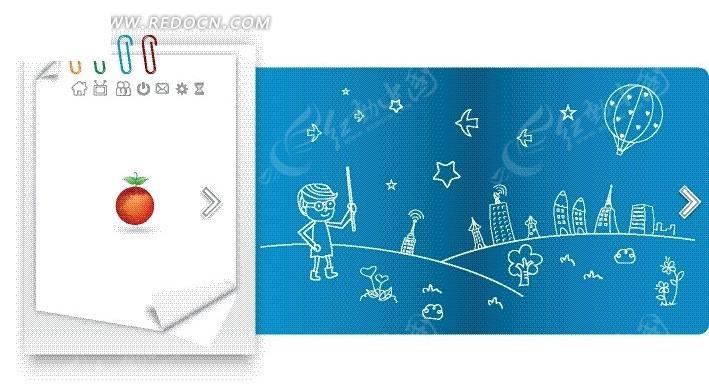 白色纸张和手绘热气球草地高楼和男孩eps素材免费下载