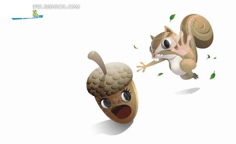 卡通动物插画——追着松果的可爱松鼠