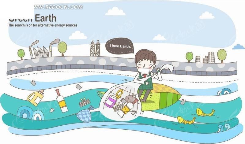 卡通人物插画-站在叶子船上捕到一堆瓶子的小男孩