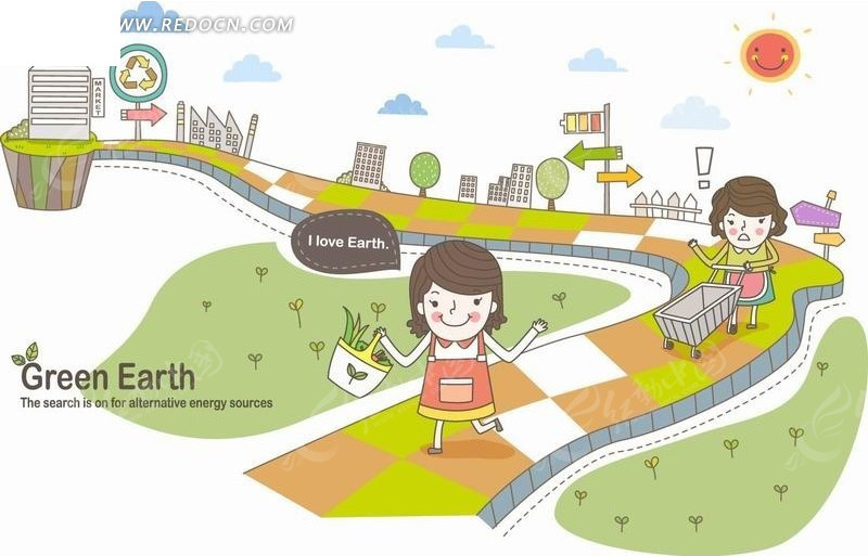 卡通人物插画-弯曲公路提篮子推车的妈妈和小女孩