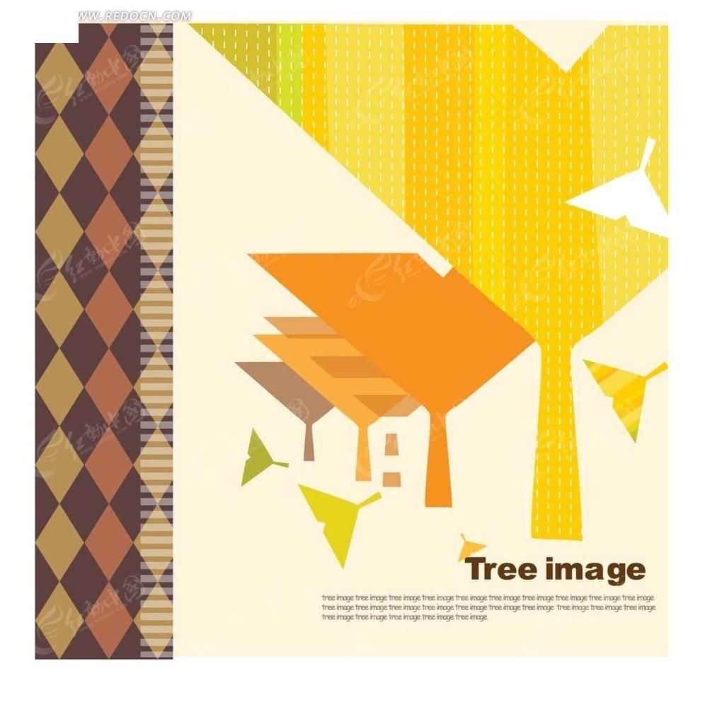 粉色背景前的银杏叶矢量图 -插画 粉色背景前的银杏叶