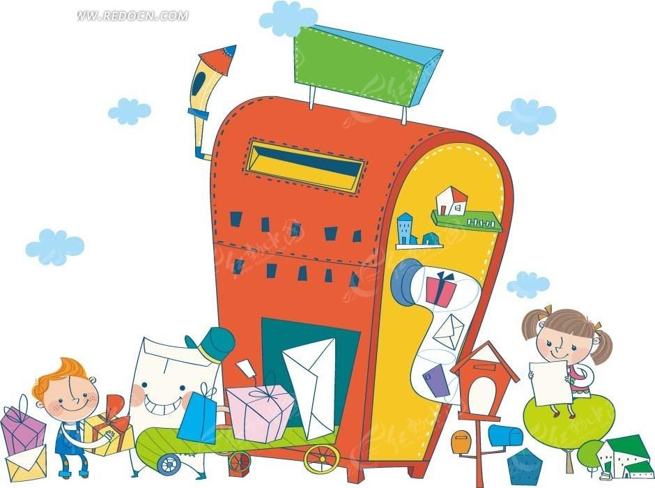 卡通动物插画-邮箱里拿到一堆礼物和信封的小男孩小女孩