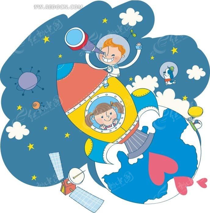 儿童卡通插画 坐在火箭上观赏宇宙的小女孩和小男孩图片