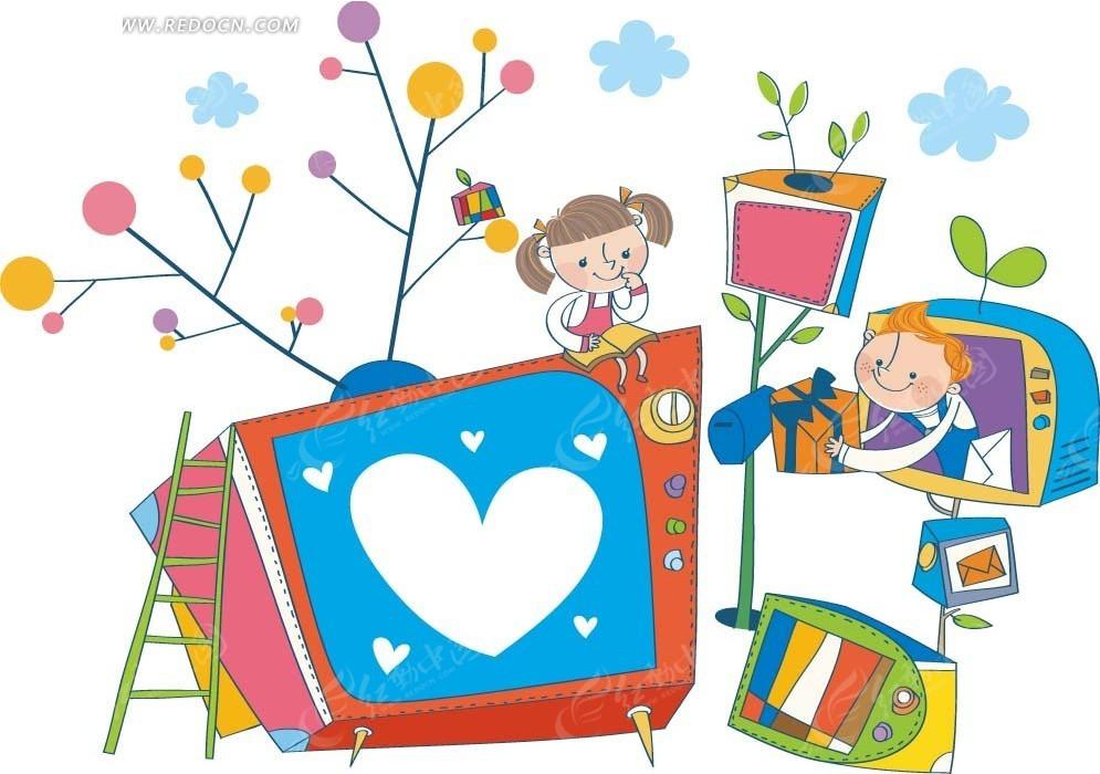 卡通画—电视机和植物以及男孩女孩