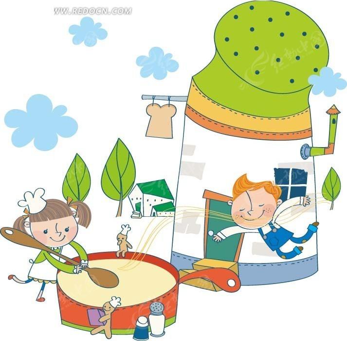 卡通画—房屋前煮汤的男孩女孩