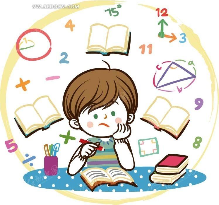 儿童卡通插画——为数学作业烦恼的小男孩