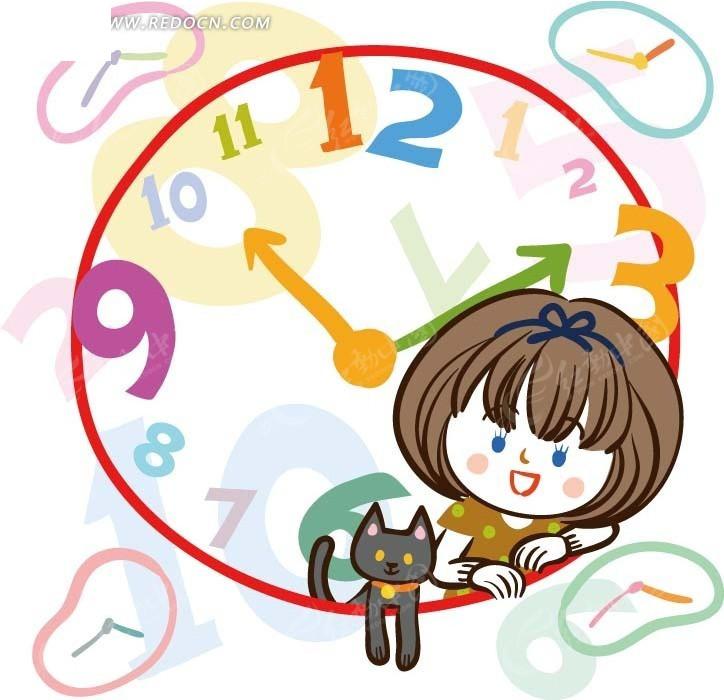 儿童卡通插画——彩色时钟里可爱小女孩和小猫咪