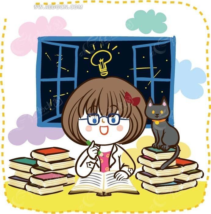卡通画—窗前读书的女孩和猫