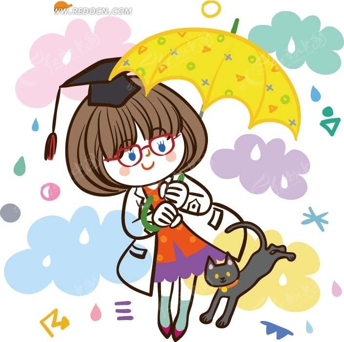 卡通画—猫和撑伞的女孩