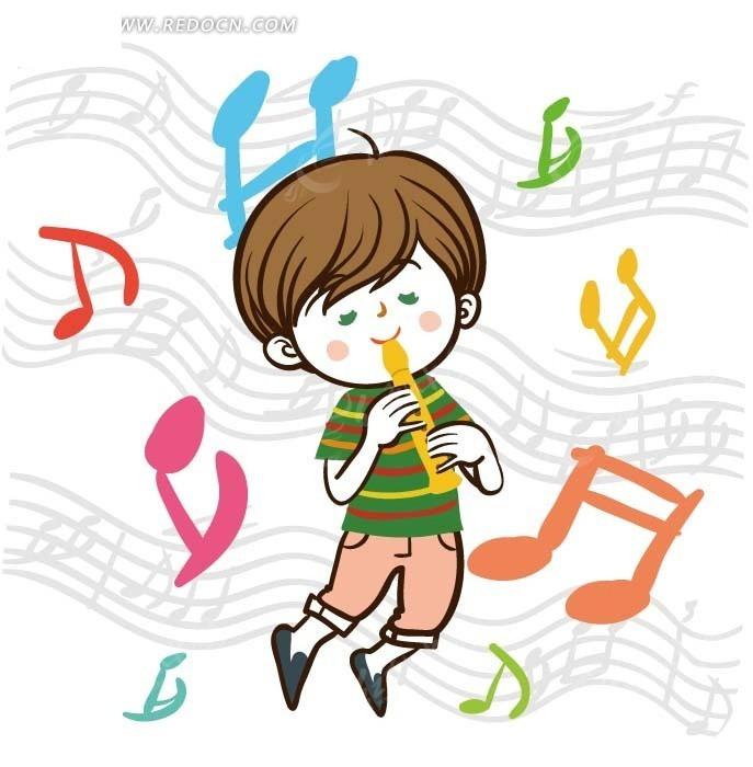 儿童卡通插画——吹笛子的小男孩