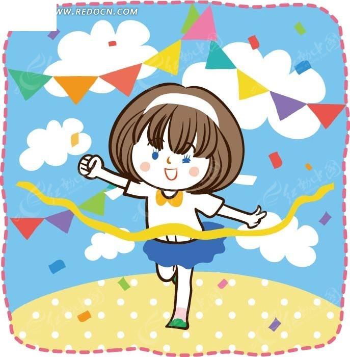 免费素材 矢量素材 矢量人物 卡通形象 儿童卡通插画——比赛跑步的小