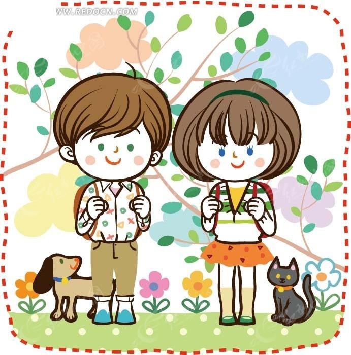 儿童卡通插画——树枝下背着书包的小女孩小男孩
