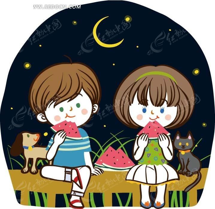 小女孩和小男孩_儿童卡通插画——星空下吃着西瓜的小女孩和小男孩