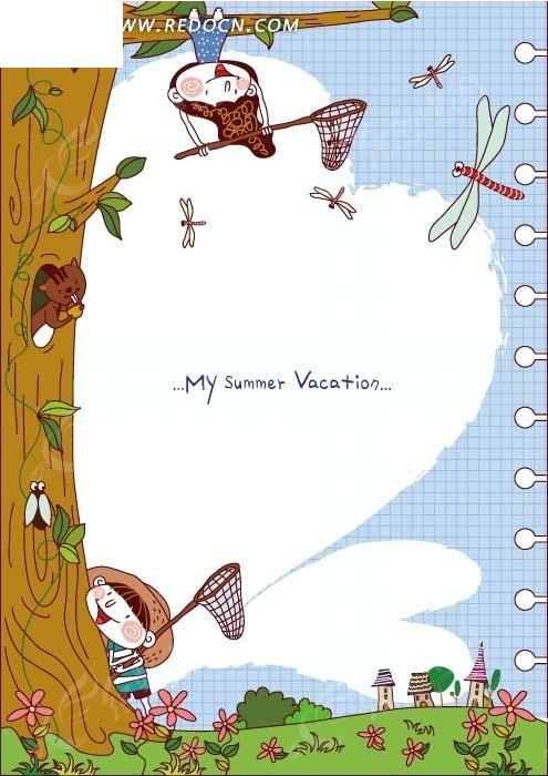 小女孩 小男孩 蜻蜓 大树 矢量素材 卡通 绘画  边框 相框图片