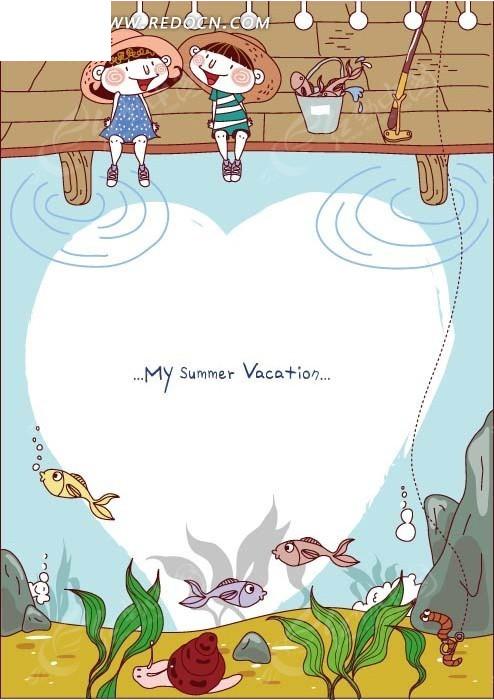 钓鱼 小朋友 开心 水草 小鱼 螺 卡通形象 绘画 插画 矢量素材 边框