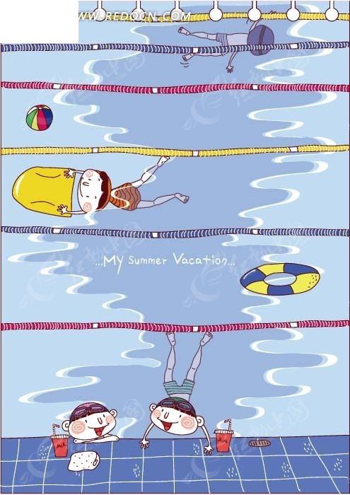卡通插画——游泳池里学游泳的可爱小朋友