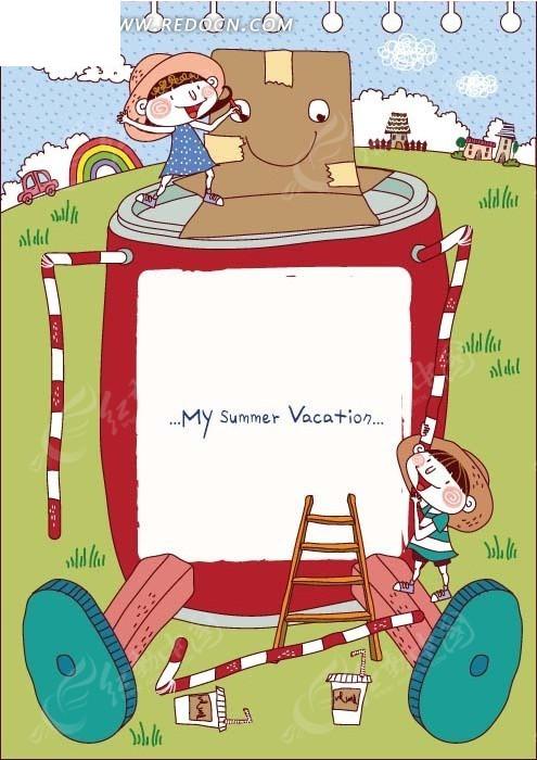 卡通插画 和大机器人玩耍的小女孩和小男孩矢量图 边框相框