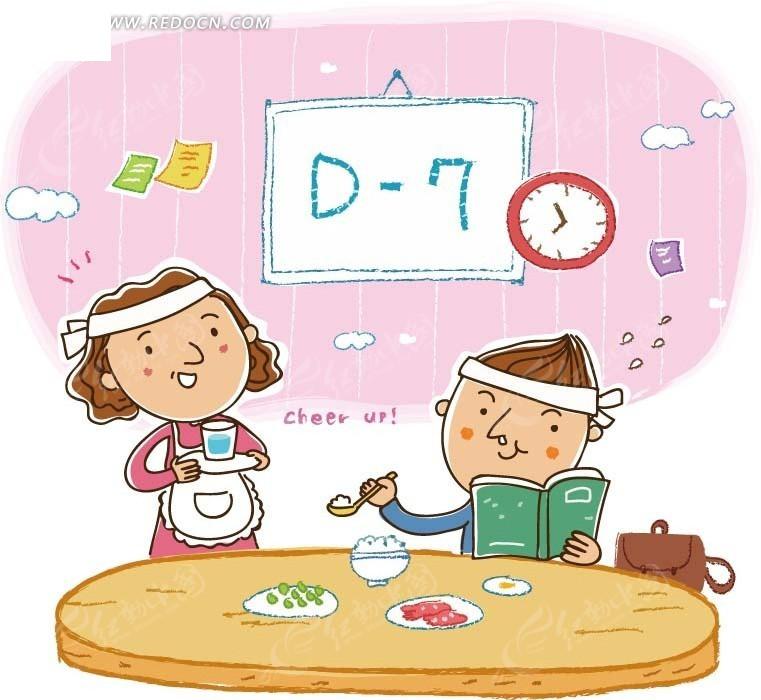 儿童卡通插画——一边吃饭一边努力学习的男孩