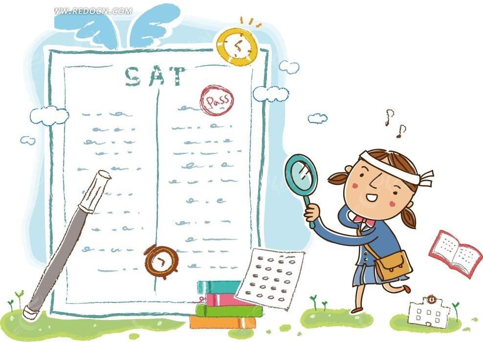 卡通画—书本前的铅笔和拿着放大镜的女孩