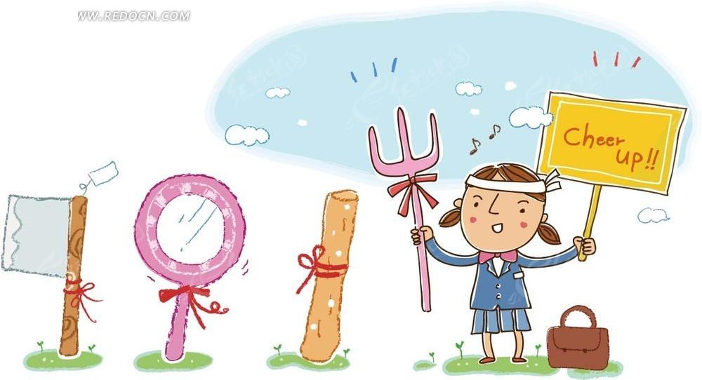 卡通画—甜品和举着牌子的女孩