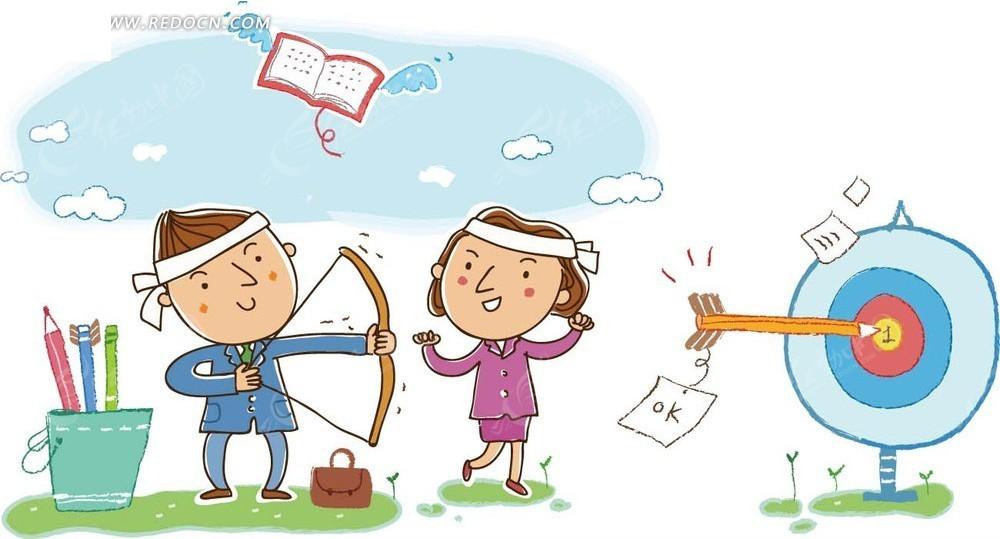 儿童 卡通 插画 射箭的男孩和 加油 的 女孩