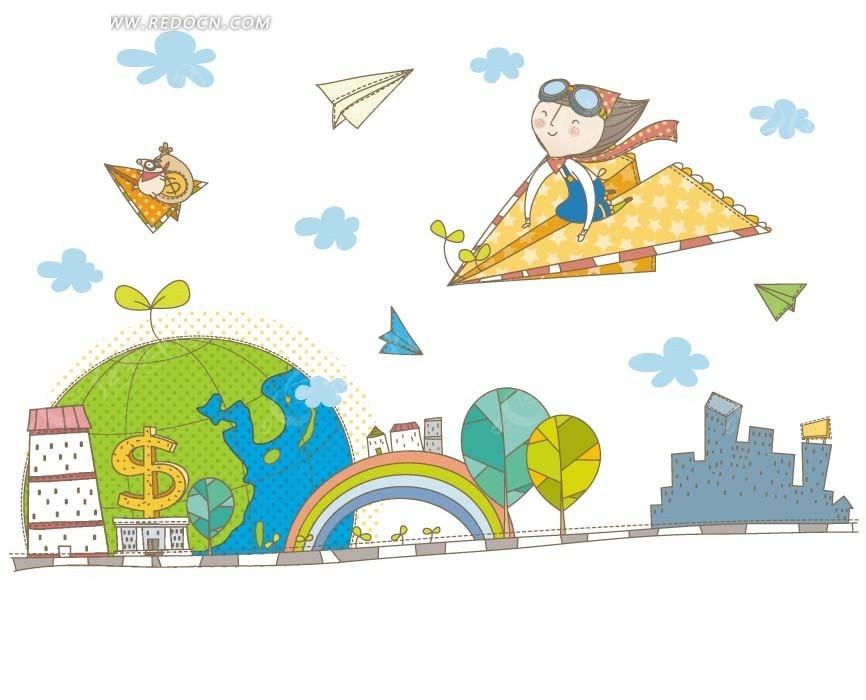 儿童卡通插画——坐在纸飞机上飞行的开心女孩