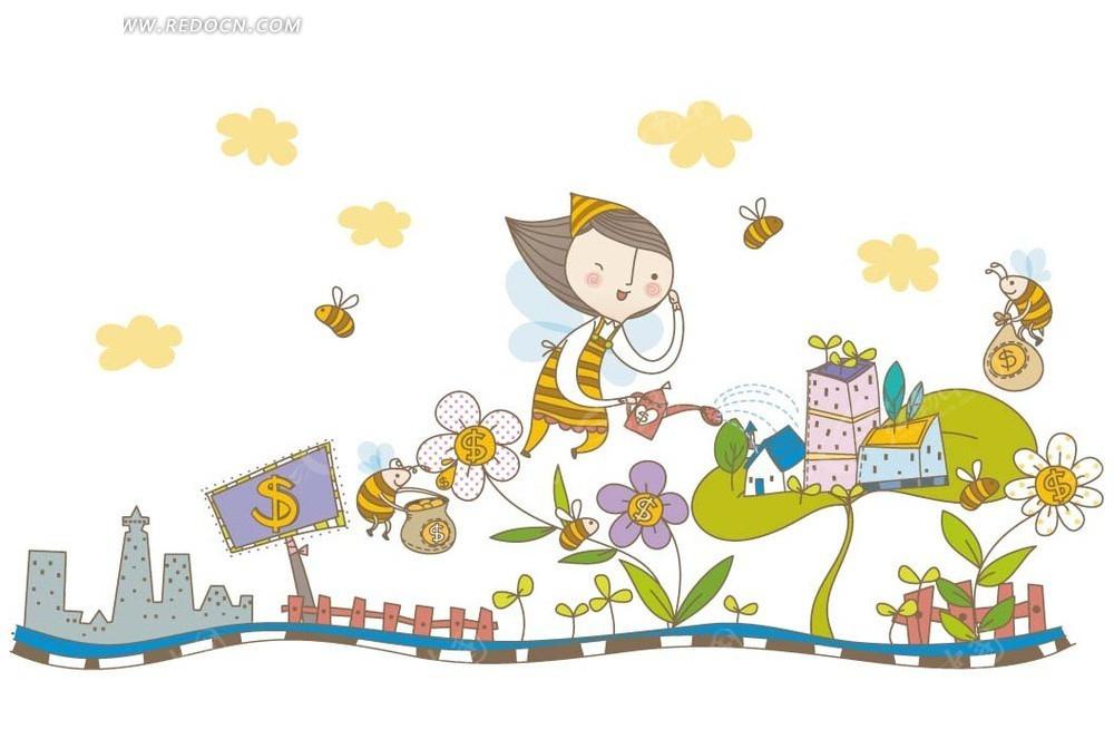 卡通插画——彩色时钟里可爱小女孩和小猫咪