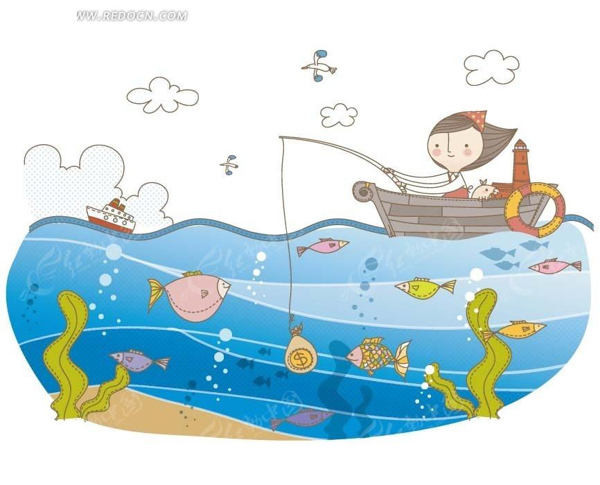 儿童卡通插画 坐着小船在海上钓鱼的小女孩图片