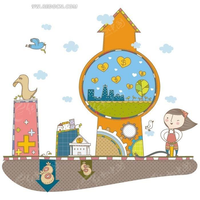 卡通人物插画 齿轮建筑上的显示屏和女孩