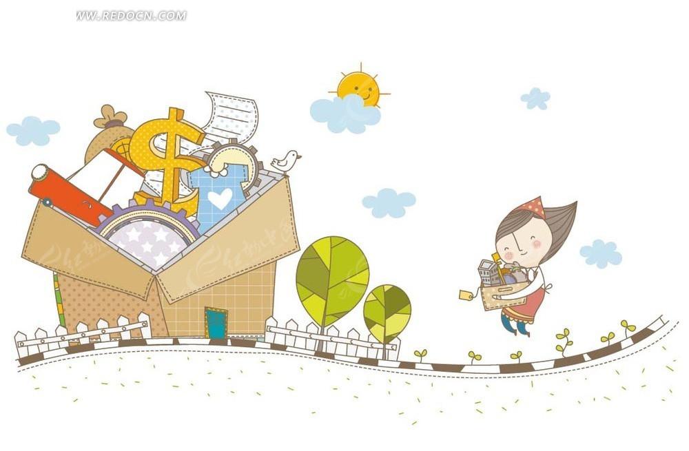 卡通人物插画 抱着箱子的女孩和箱子内的金钱齿轮