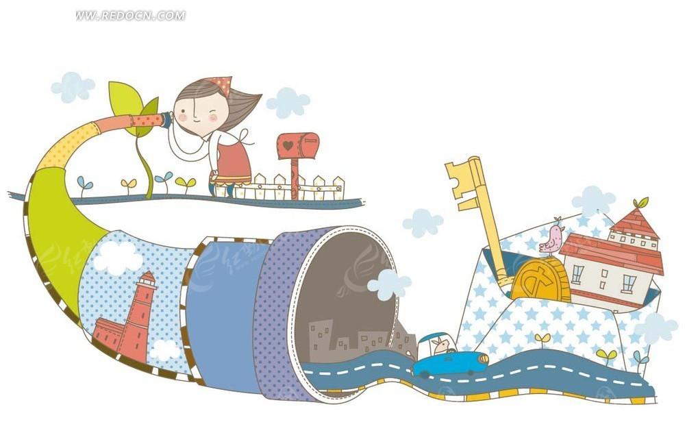 卡通人物插画 隧道内的公路和信封内的房子钥匙