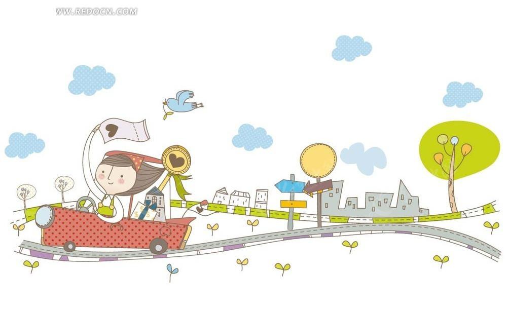 卡通画—道路上开车的女孩