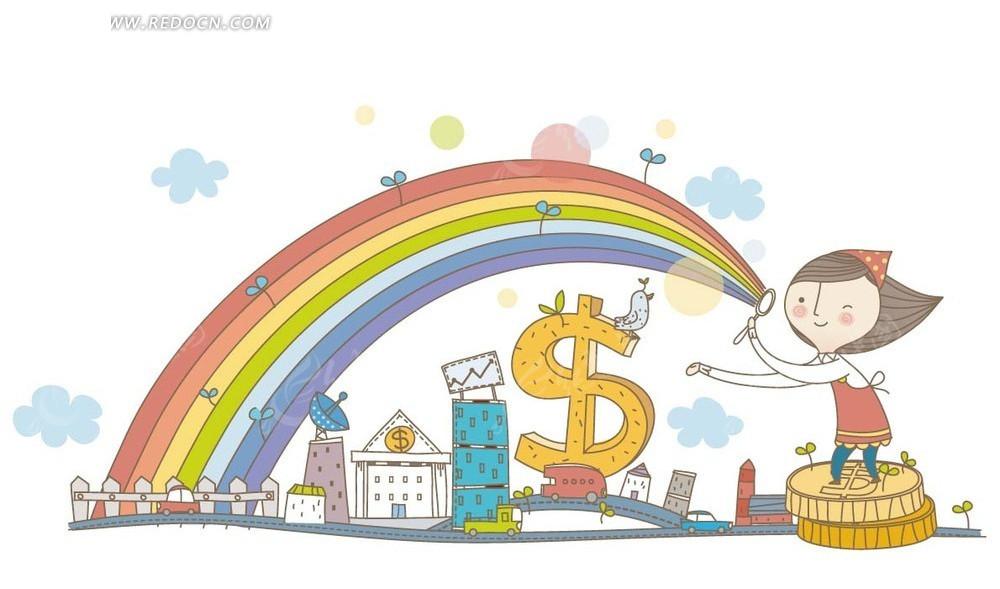 卡通画—云朵下的房屋和金币上的女孩和彩虹