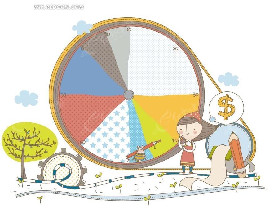 卡通人物插画 圆盘齿轮和小女孩