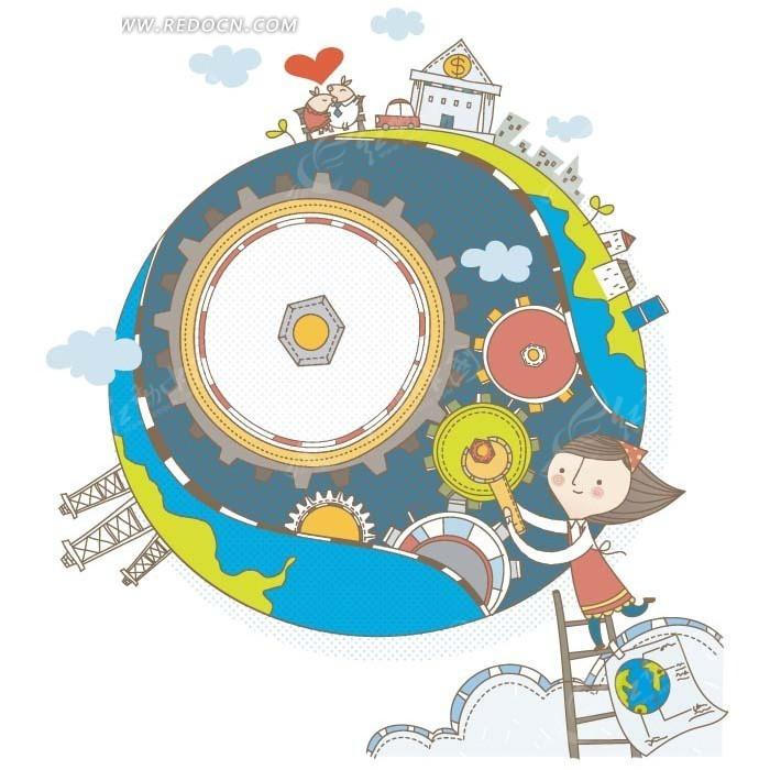 卡通画—地球表面的房屋建筑和梯子上的女孩