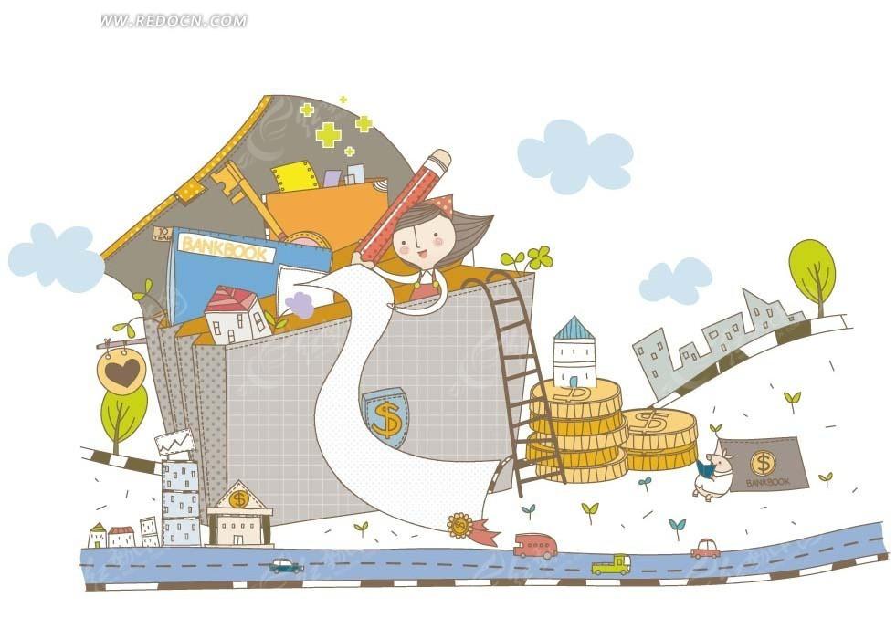 卡通人物插画 书包内的女孩梯子和铅笔