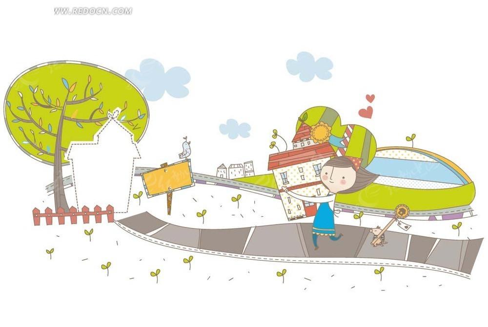 卡通画—抱着房屋的女孩