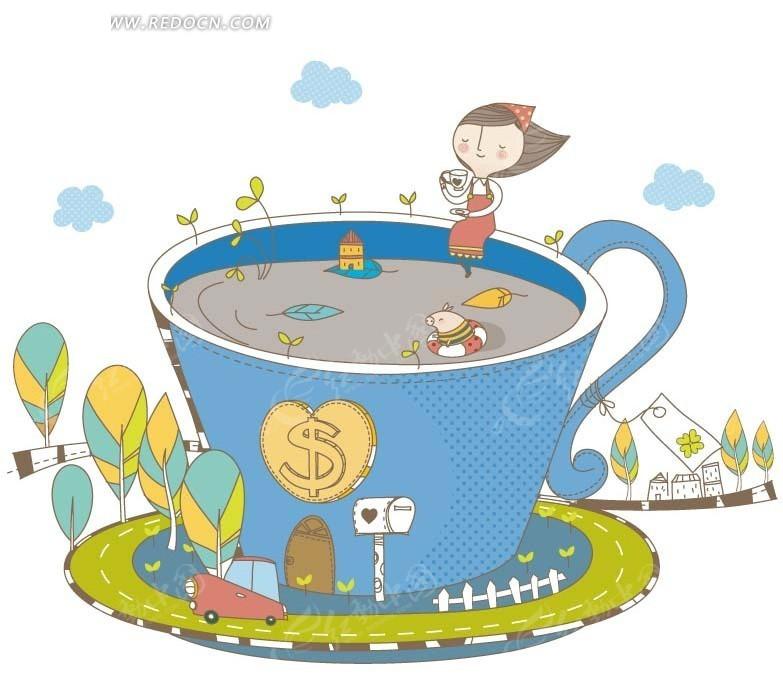 卡通画—杯子里的房屋和坐在杯沿上的女孩