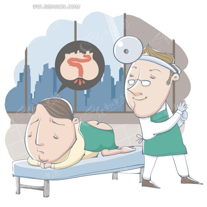 卡通人物插画-医生给小男孩打针