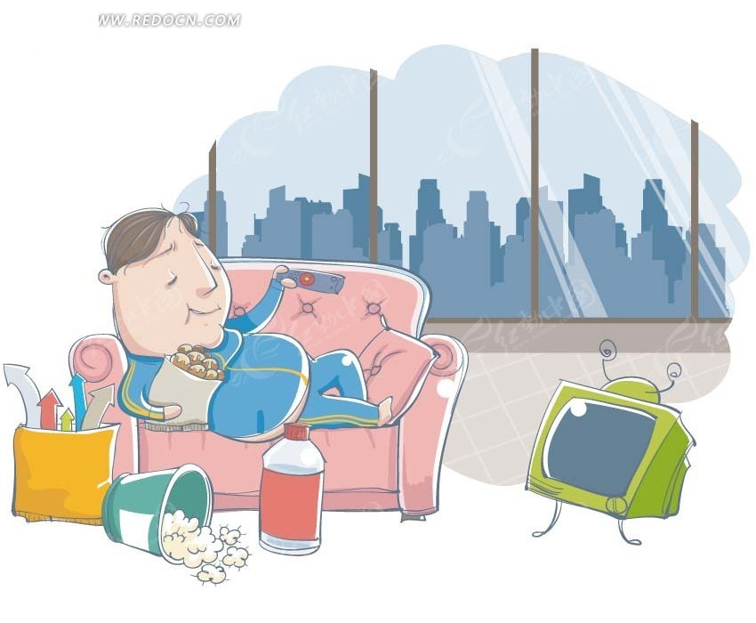 看电视卡通_卡通插画——躺在沙发上看电视吃零食的男人矢量图